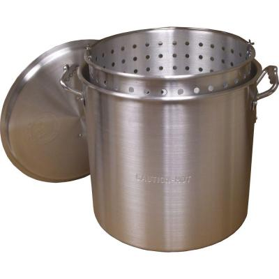 120 qt. Aluminum Stock Pot in Silver with Lid