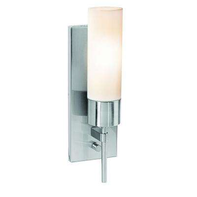 Iron 1 Light Brushed Steel Sconce with Opal Glass Shade