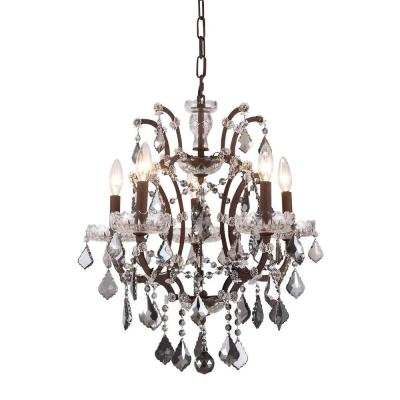 Elena 5-Light Rustic Intent Royal Cut Silver Shade Grey Pendant