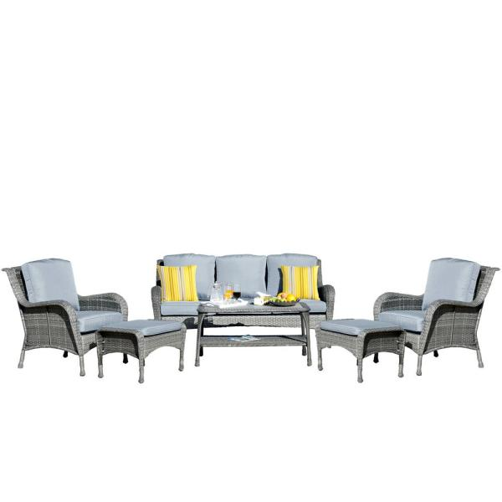 6-Piece Metal Patio Conversation Set with CushionGuard Gray Cushions