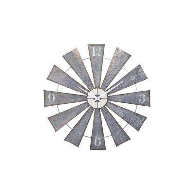 48 in. x 48 in. Round Metal Windmill Wall Clock
