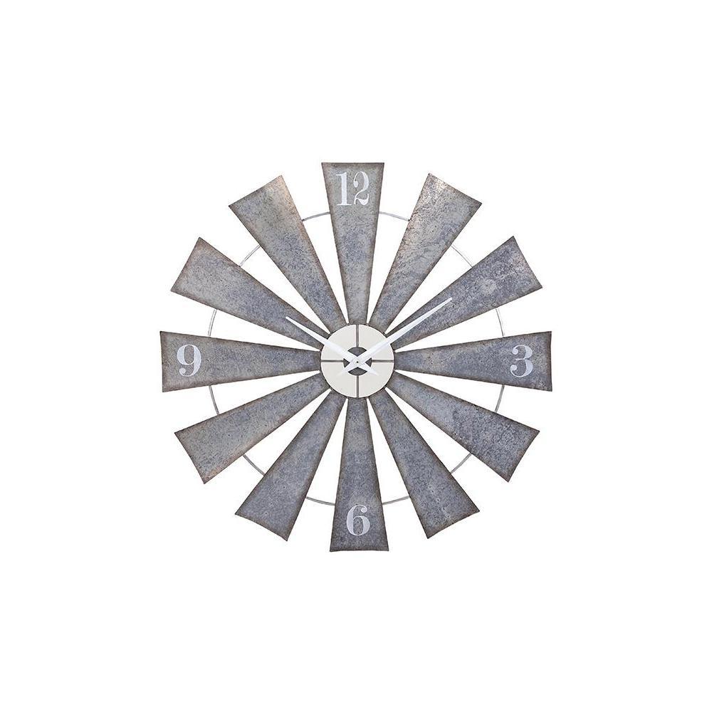 IMAX 48 in. x 48 in. Round Metal Windmill Wall Clock, Rus...