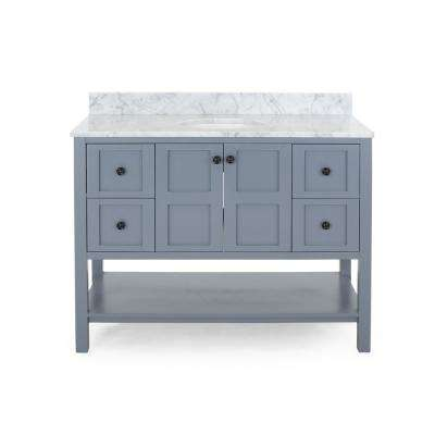 Jaeden 48 in. W x 22 in. D Bath Vanity with Carrara Marble Vanity Top in Grey with White Basin
