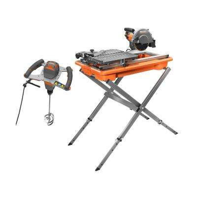 9 Amp Corded 7 in. Tile Saw with Stand and Single Paddle Mixer