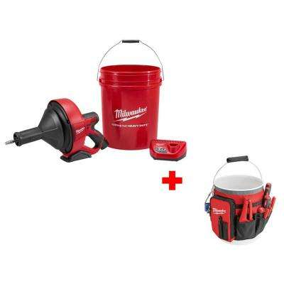 M12 12-Volt Lithium-Ion Cordless Drain Snake Kit with Free Bucket Organizer Bag