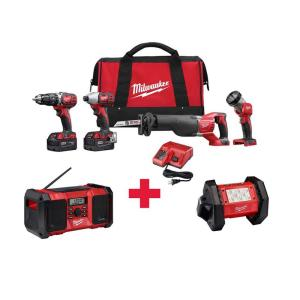 Milwaukee M18 18-Volt Lithium-Ion Cordless Combo Kit (4-Tool) with Free M18 Radio and M18 LED Flood Light by Milwaukee