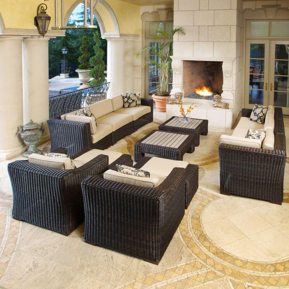 RST Brands Resort Espresso 12-Piece King Deluxe Patio Seating Set with Heather Beige Cushions