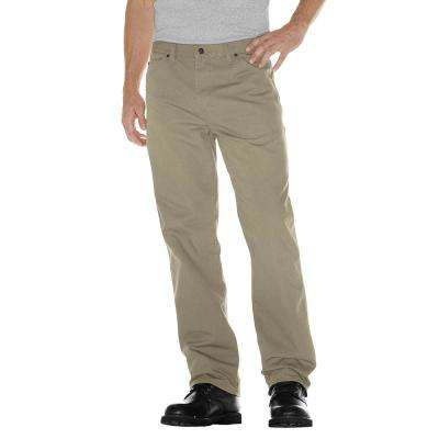 Men's 36 in. x 32 in. Desert Sand Relaxed Fit Straight Leg Carpenter Duck Jean