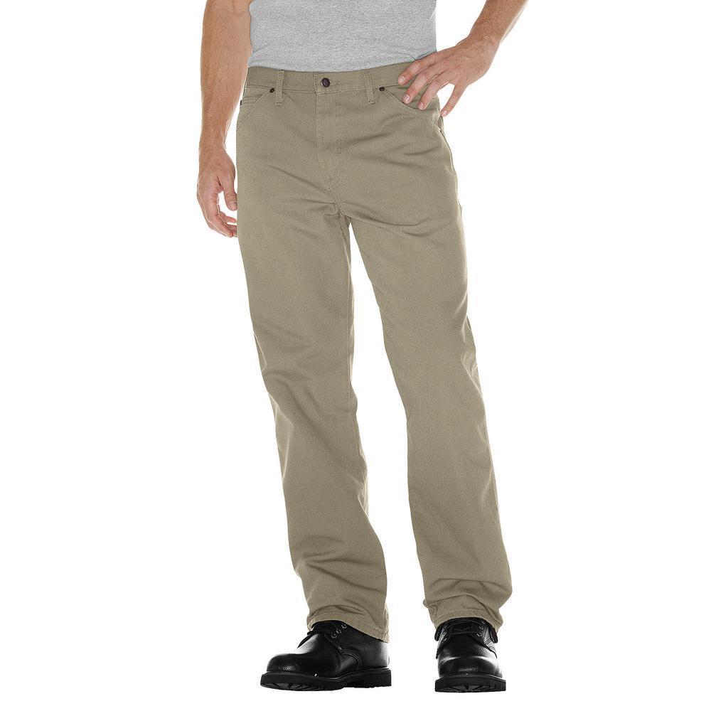 Men's 46 in. x 32 in. Desert Sand Relaxed Fit Straight Leg Carpenter Duck Jean