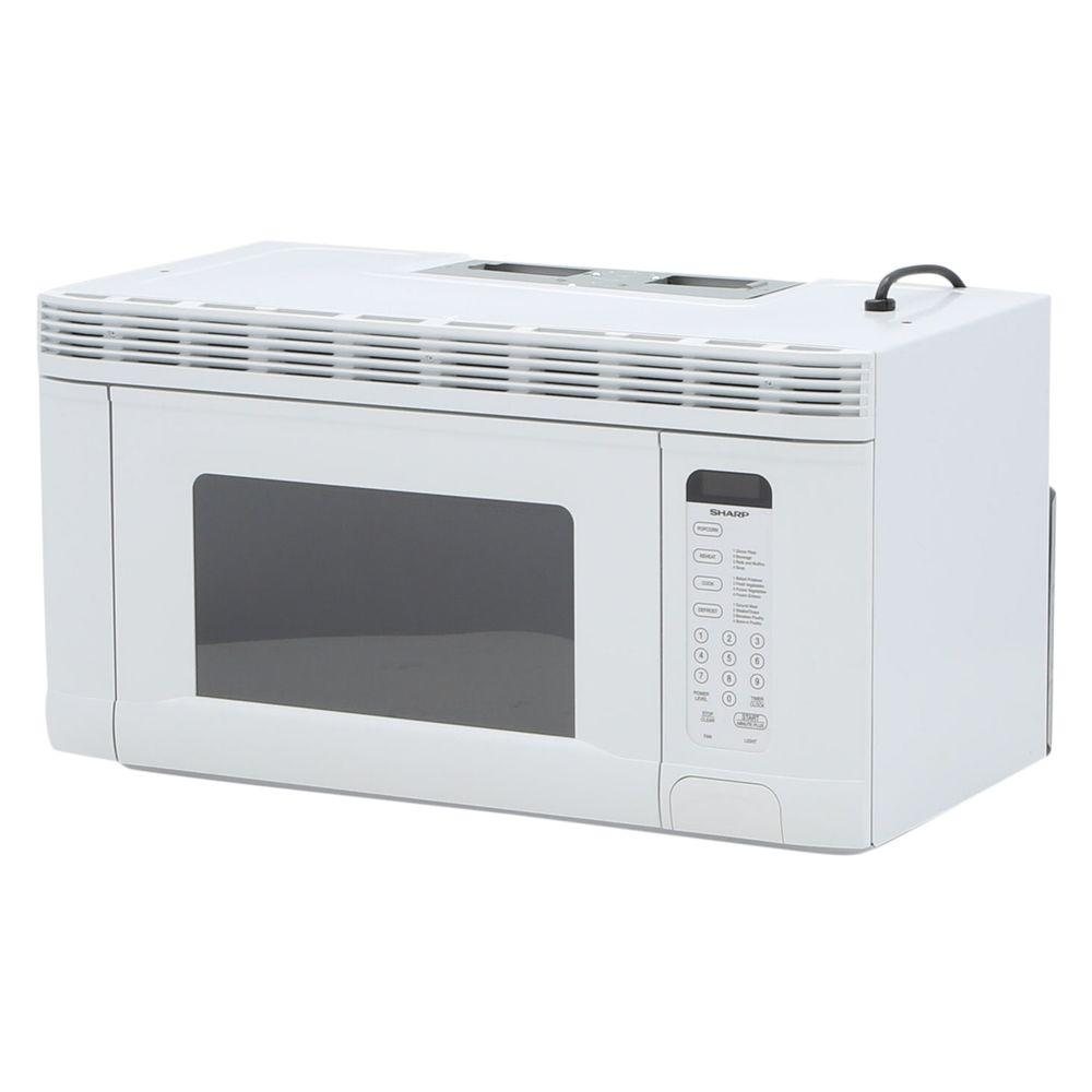 sharp 1 4 cu ft 950 watt over the range microwave oven in white r1406t the home depot. Black Bedroom Furniture Sets. Home Design Ideas