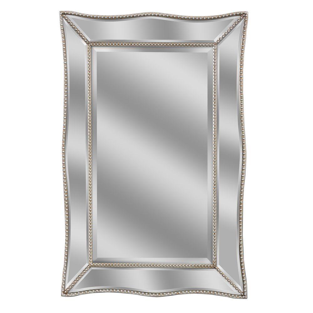 Deco Mirror 36 inch L x 24 inch W Scalloped Metro Beaded Single Mirror in Silver by Deco Mirror