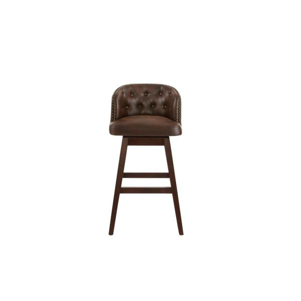 Bardell Swivel Upholstered Bar Stool with Brown Faux Leather Seat and Barrel Back  (20 in. W x 40 in. H)
