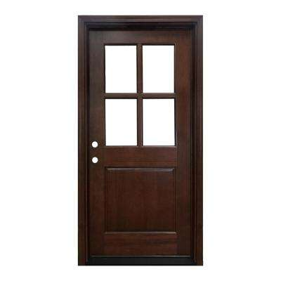 32 in. x 80 in. Farmhouse Ashville Right-Hand Inswing Mahogany Stained Wood Prehung Front Door