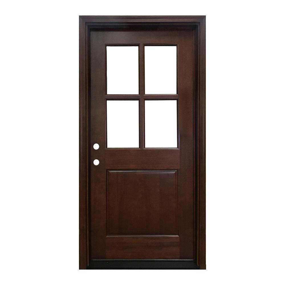 36 in. x 80 in. Farmhouse Ashville Right-Hand Inswing Mahogany Stained