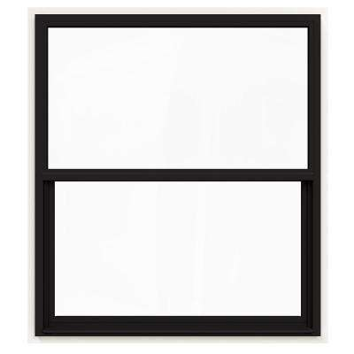 48 in. x 60 in. V-4500 Series Black Painted Single-Hung Vinyl Window with Fiberglass Mesh Screen