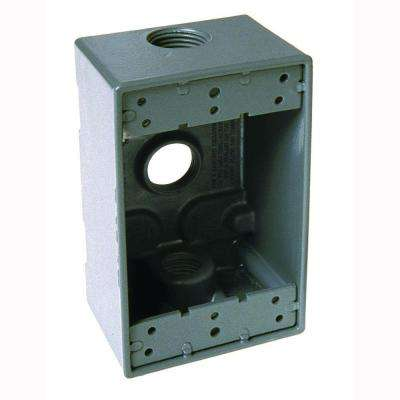 1-Gang Weatherproof Gray Box with Three 3/4 in. Threaded Outlets