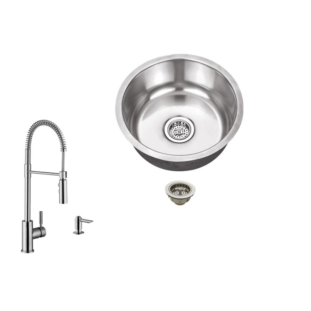 IPT Sink Company Undermount 17 in. 18-Gauge Stainless Steel Bar Sink ...