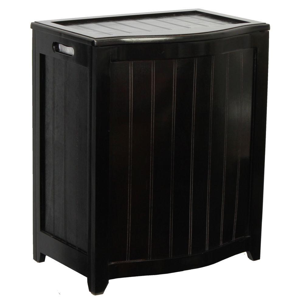 Dark Mahogany Wainscot Style Bowed Front Laundry Hamper