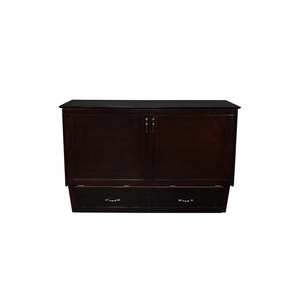Atlantic Espresso Brown Queen Bed Chest Charging Station Coolsoft Mattress