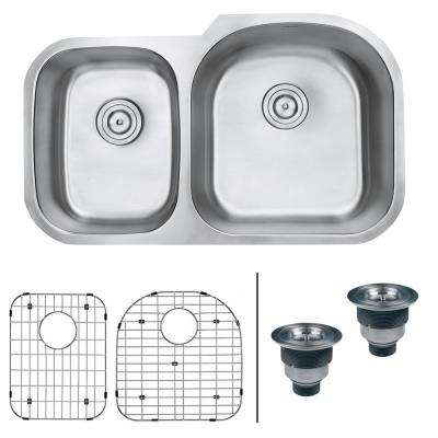 Undermount Stainless Steel 34 in. 16-Gauge 40/60 Double Bowl Kitchen Sink - Right Configuration