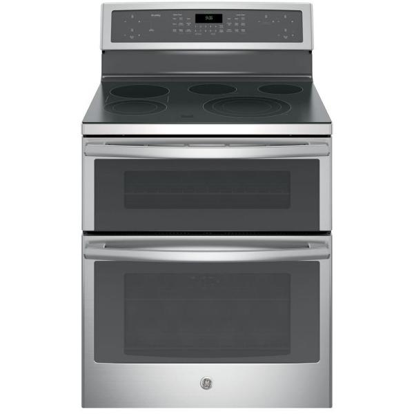 Profile 6.6 cu. ft. Double Oven Electric Range with Self-Cleaning and Convection Lower Oven in Stainless Steel