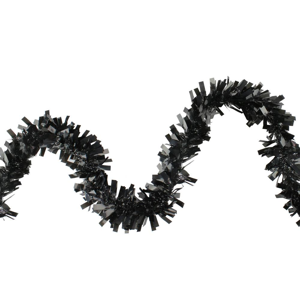 Northlight Wide Cut Black Halloween Tinsel Garland - 50 feet Unlit
