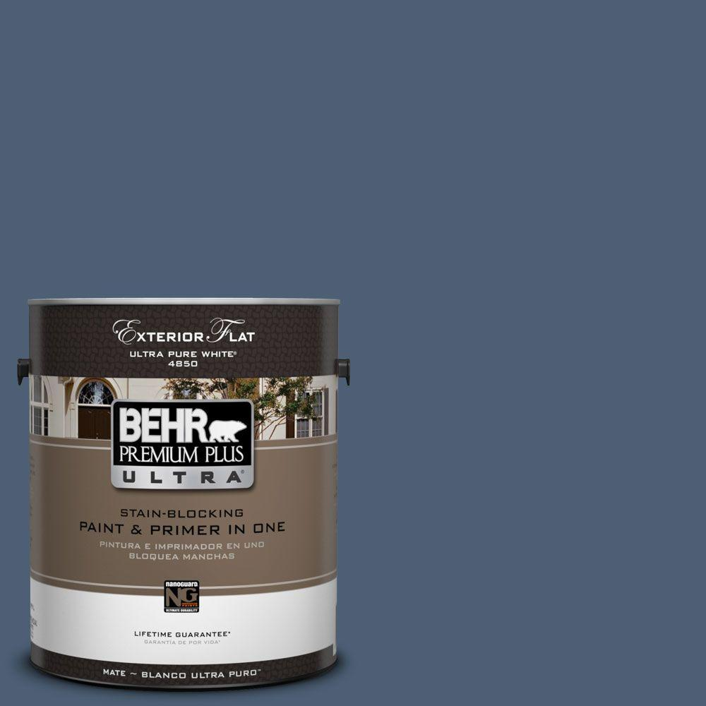 BEHR Premium Plus Ultra 1-Gal. #UL230-2 English Channel Flat Exterior Paint