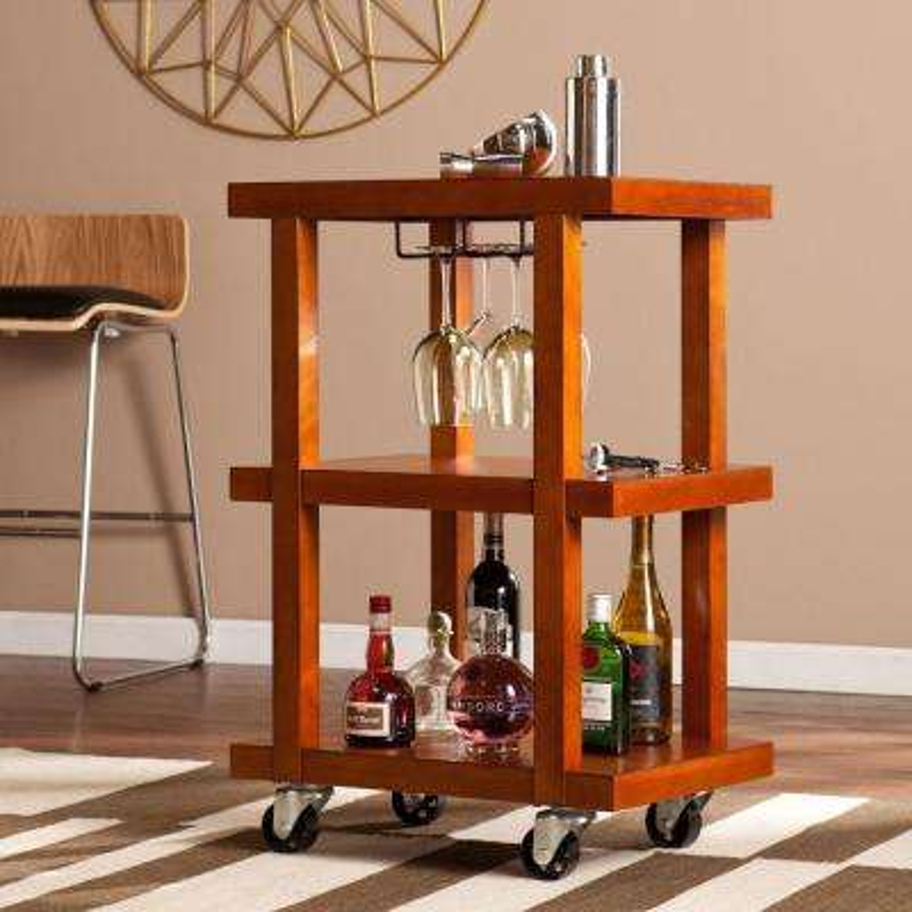 celia bar cart in warm mahogany