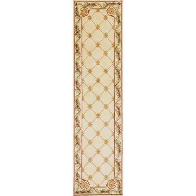 Antique Ivory Fleur-De-Lis 2 ft. x 10 ft. Runner Rug