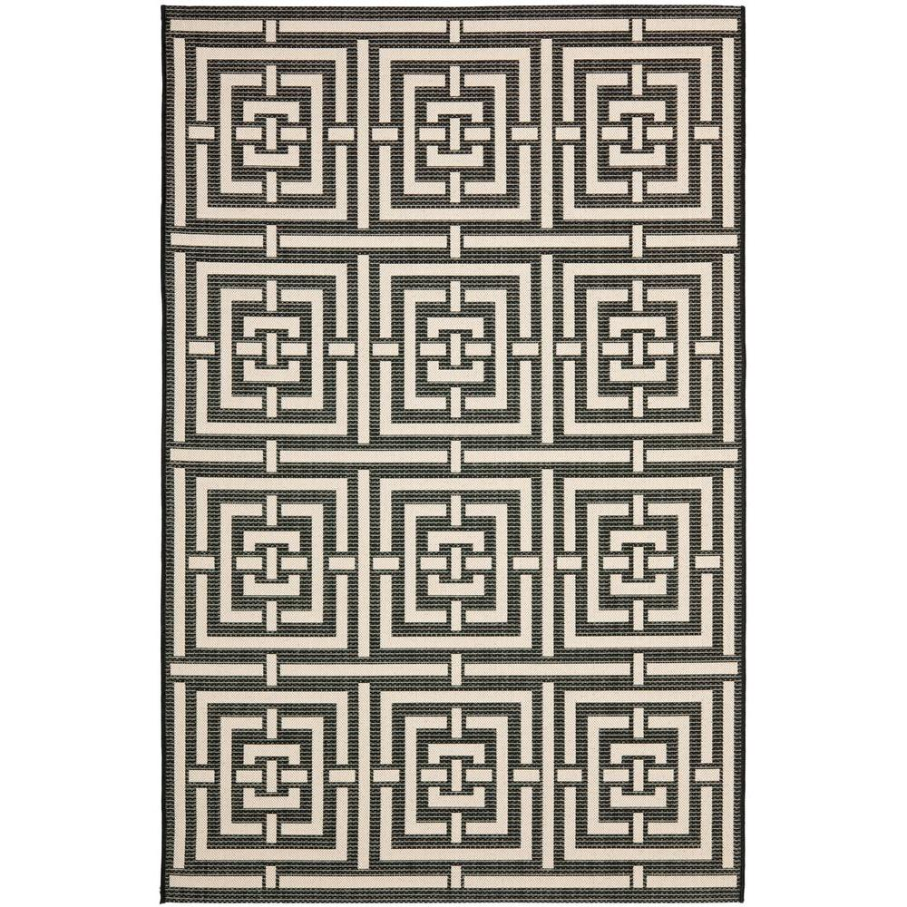 Courtyard Black/Bone 9 ft. x 12 ft. Indoor/Outdoor Area Rug