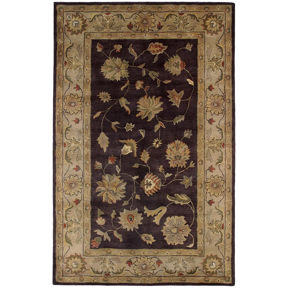 Dynamic Rugs Charisma Eggplant Ivory 5 Ft X 8 Ft Indoor