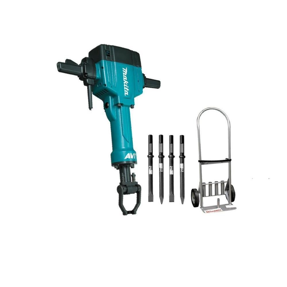 Makita 15 Amp 1-1/8 in. Hex Corded 70 lb. AVT Breaker Hammer with Anti-Vibration Technology, Cart and (4) Bits