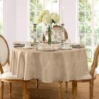 70 in. Round Beige Elrene Barcelona Damask Fabric Tablecloth