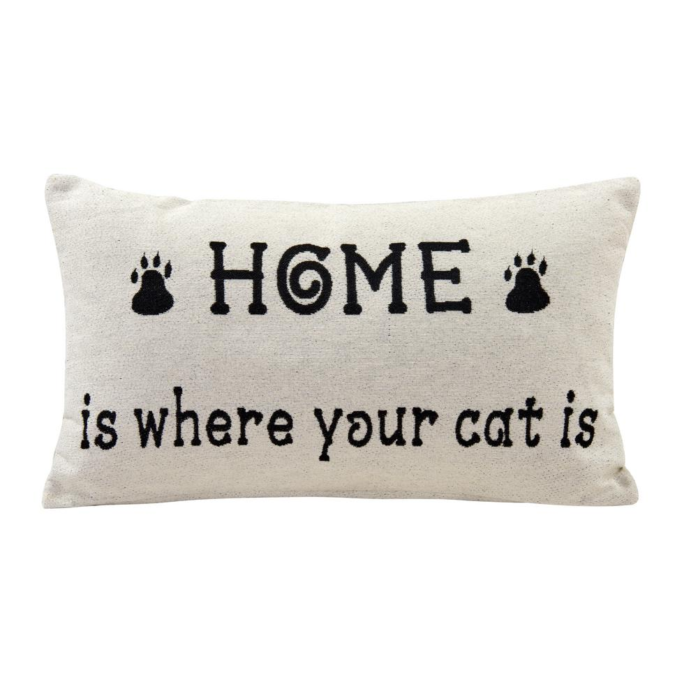 DanyaB DANYA B Home Is Where Your Cat Ivory Geometric Polyester 19 in. x 19 in. Throw Pillow