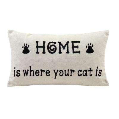 Home is Where Your Cat Is Ivory and Black Decortive Pillow