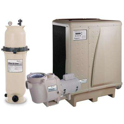 In Ground Swimming Pool Filter Equipment Bundle with 150 sq. ft. Cartridge Filter, 1.5 HP Pump, 108,000 BTU Heat Pump