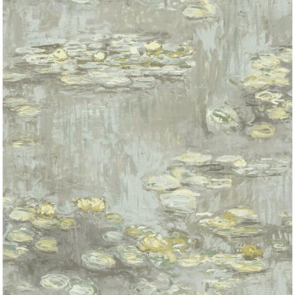 Lily Pads Metallic Silver, Smoke, and Gold Paper Strippable Roll (Covers 56.05 sq. ft.)