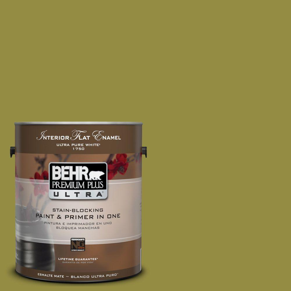 BEHR Premium Plus Ultra 1-Gal. #UL200-20 Retro Avocado Interior Flat Enamel Paint