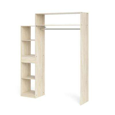 Lola Oak Structure 1-Drawer, 5-Shelf Wardrobe with Hanging Rod