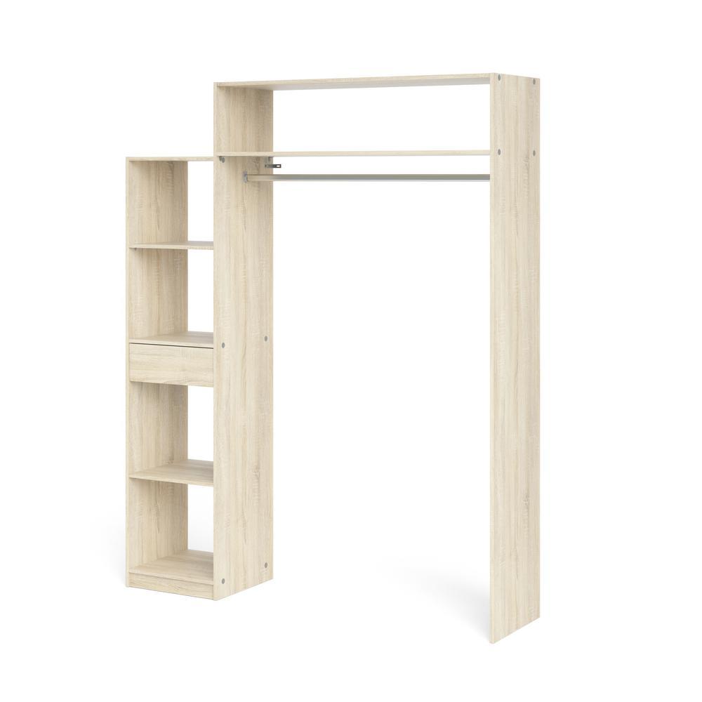 Lola Oak Structure 1-Drawer, 5-Shelf Wardrobe with Hanging Rod