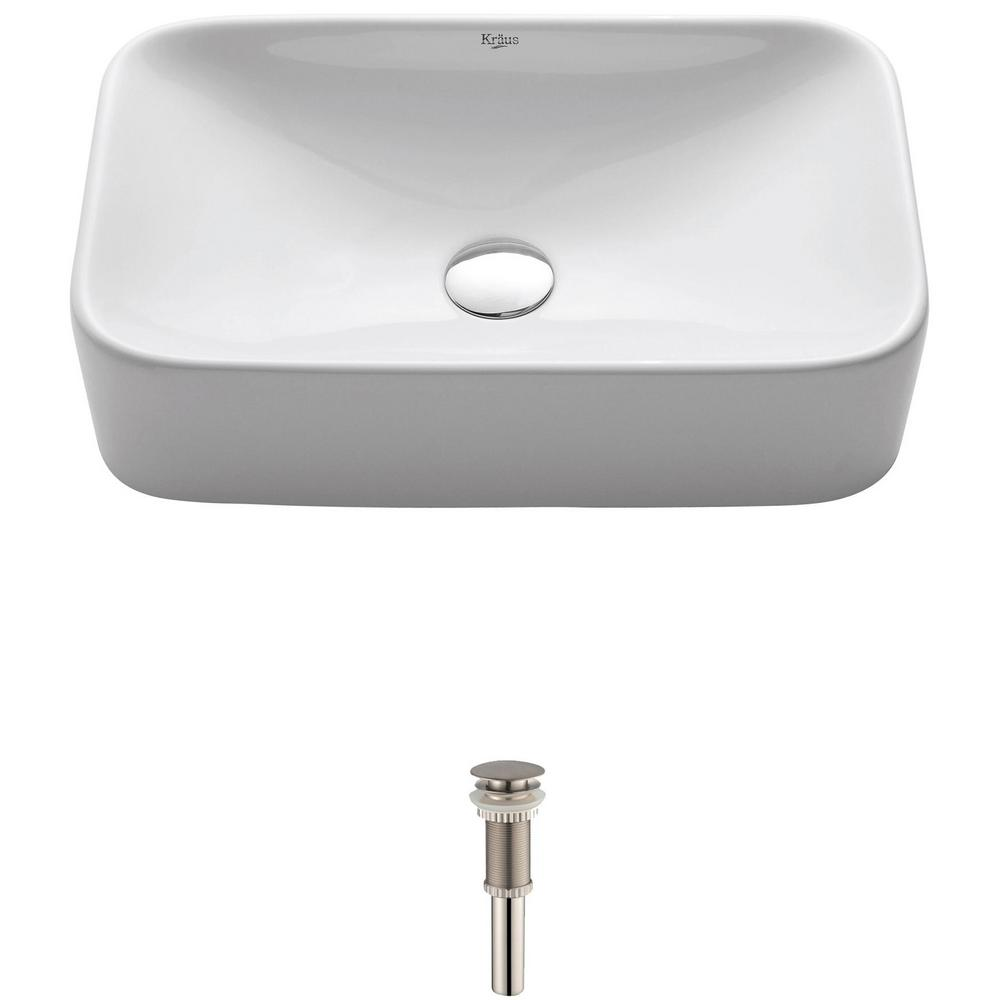 Kraus Soft Rectangular Ceramic Vessel Bathroom Sink In White With Pop Up Drain In Satin Nickel