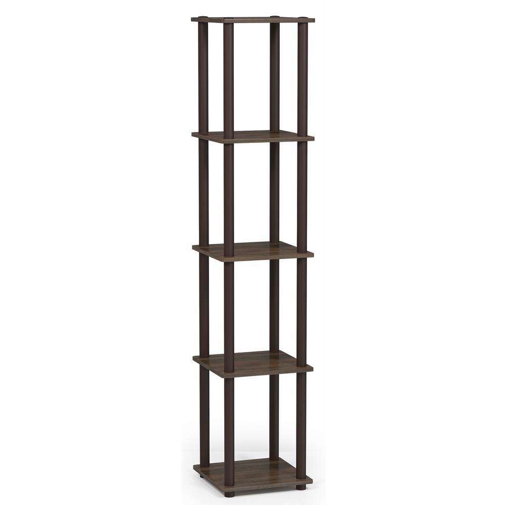 Turn-N-Tube Walnut 5-Shelf Corner Display Shelf
