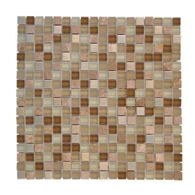 Warm Topaz 11.75 in. x 11.75 in. x 8.5 mm Glass Mosaic Tile