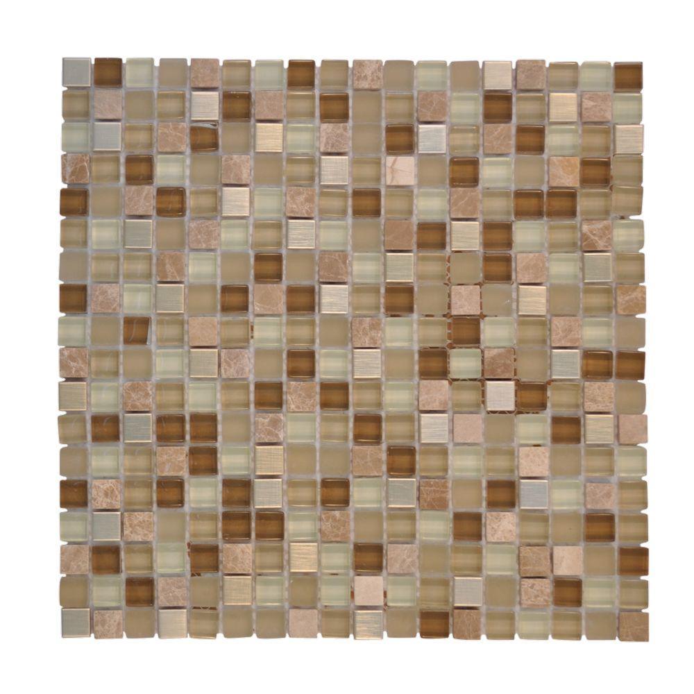 Warm Topaz 12 in. x 12 in. Tan Glass Mosaic Tile