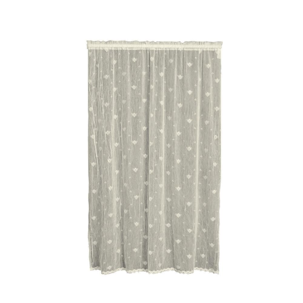 Semi-Opaque Bee 45 in. L Polyester Valance in Ecru