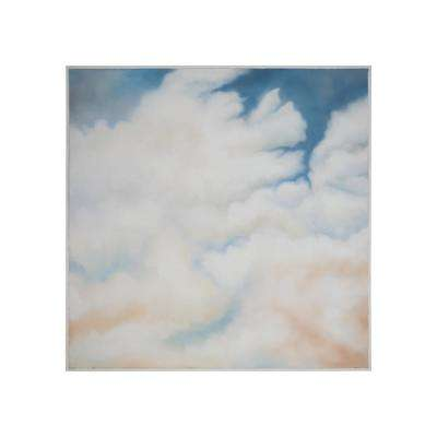 "60 in. x 60 in. ""Cirrus"" Hand Painted Framed Canvas Wall Art"