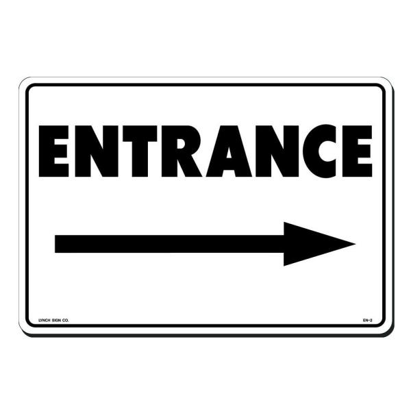 14 in. x 10 in. Entrance with Arrow Right Sign Printed on More Durable, Thicker, Longer Lasting Styrene Plastic