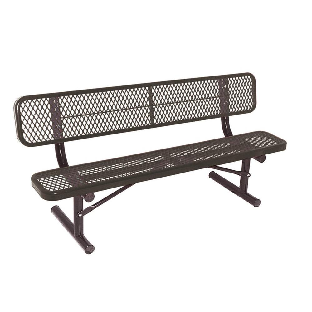 6 ft. Diamond Black Commercial Park Portable Bench with Back Surface