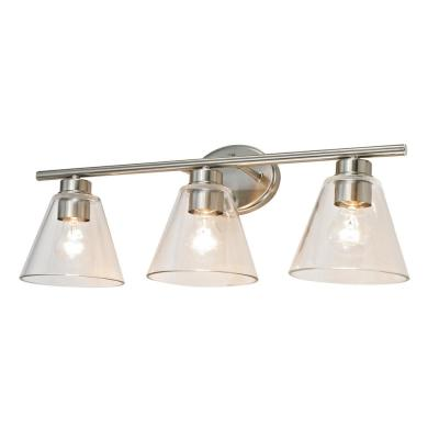 Nassau 5-Piece Brushed Nickel Vanity Light All-In-One Bath Set