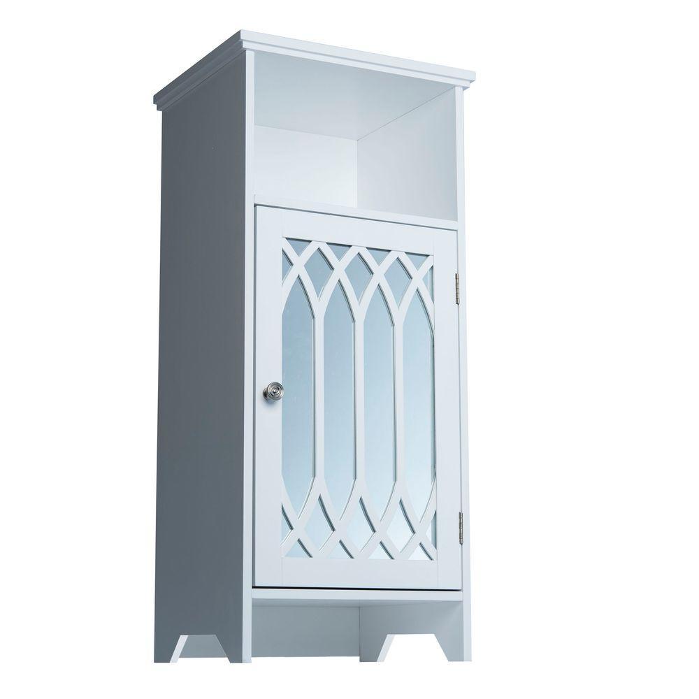 Elegant Home Fashions Lark 14-1/4 in. W x 12-1/4 in. D x 32 in. H 1-Door Floor Cabinet in White